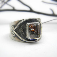 Rutilated Quartz Ring in Sterling Silver, Cocktail ring handmade oxidized matte finish size 8
