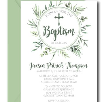 Greenery Baptism Invitations