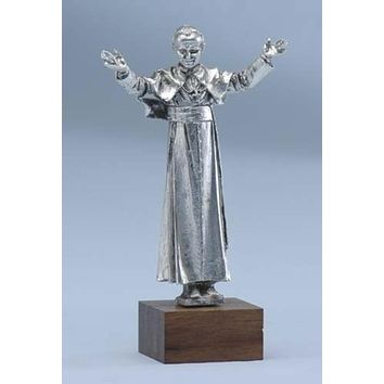 "4"" Pope John Paul II Silver Plated Pewter Tabletop Figurine #44640"
