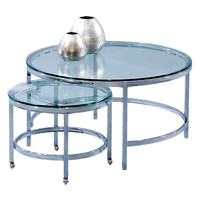 Bassett Mirror Patinoire Nesting Round Coffee Table - Silver