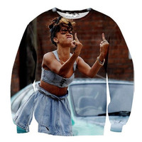 Rihanna F You Middle Finger Pullover Sexy Sweater 3D Digital Print Free Shipping