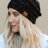Knitted Confetti Beanie - Black