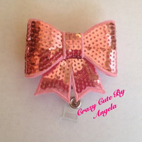 Light Pink Bow,Pink Bow Badge reel,Sequin Bow,Badge Reel ,Name badge,Retractable name badge,Id holder,Nurse,Dr,Vet,teacher,Christmas Gift