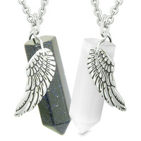 Amulets Love Couples Magic Powers Angel Wings Crystal Points Goldstone White Simulated Cats Eye Necklaces