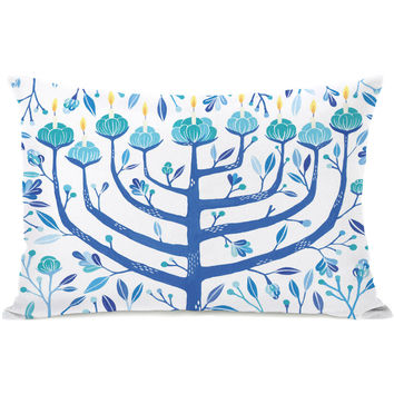 """Menorah"" Indoor Throw Pillow by Ana Victoria Calderon, White/Blue, 14""x20"""