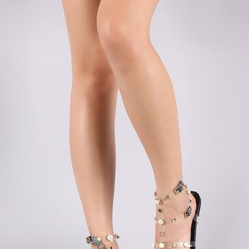 Liliana Clear Pearl And Stud Gladiator Flat Sandal