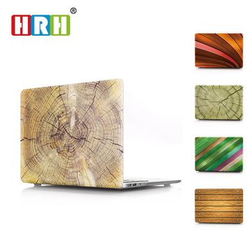 HRH Wood Texture Laptop Body Shell Protective Hard Case Sleeve for Macbook Pro Retina13 12 15 Air 13 11 New Pro Touch Bar 13 15