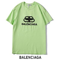 BALENCIAGA Summer Newest Women Men Casual Print Short Sleeve T-Shirt Top Green