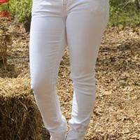 Miss Me White Silver Embellished Skinny Jeans