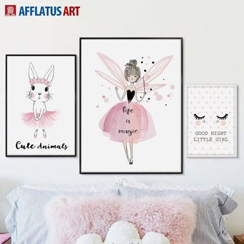 Pink Rabbit Fairy Nordic Posters And Prints Wall Art Canvas Painting Wall Pictures For Kids Room Baby Room Girls Room Home Decor