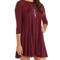 Wine Dropped Shoulder Trapeze T-Shirt Dress by Charlotte Russe