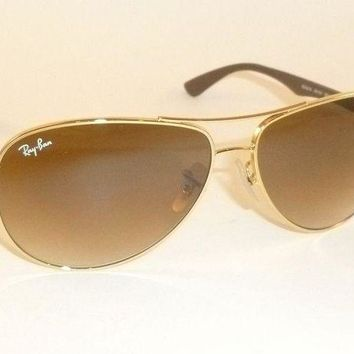 Kalete New RAY BAN Sunglasses TECH Gold Frame RB 8313 001/51 Gradient Brown Lenses 61mm