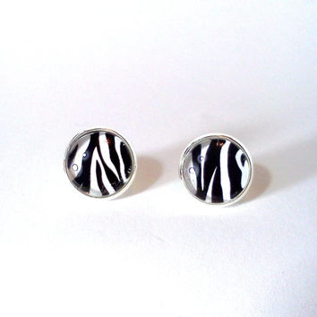 Zebra Earrings, Glass Earrings, Zebra, Zebra Jewelry, Zebra Print, Black and White, Glass Jewelry, Nickle Free Earrings, Black Earrings