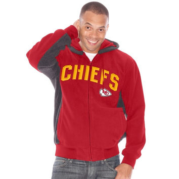 Mens Kansas City Chiefs Red Backfield Full Zip Hoodie