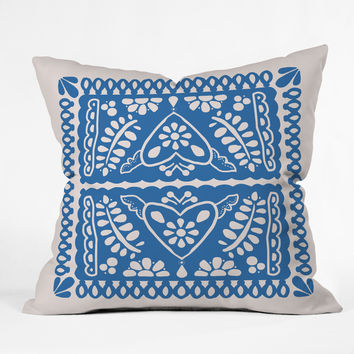 Natalie Baca Fiesta de Corazon in Blue Throw Pillow
