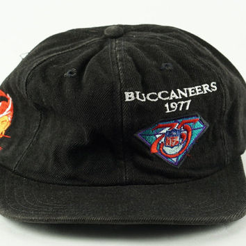 Black Dad Hat Vintage Tampa Bay Buccaneers 1977 75th Anniversary NFL Strapback Dad Hat