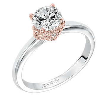 "Artcarved 0.026 Carat ""Clarice"" Diamond Engagement Ring in 14kt White Gold with Rose Gold Details"