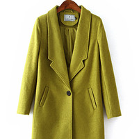 Fall/Winter Korean Fashion Lapel Long Sleeves Thick Wool Coat