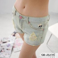 Korean denim shorts , brush broken light blue large size | fashion4us
