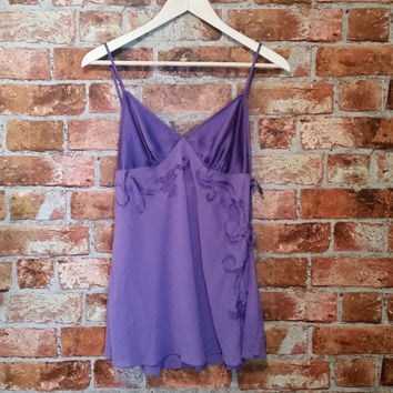 Vintage 90s Victoria's Secret Purple Silk Nightie Slip