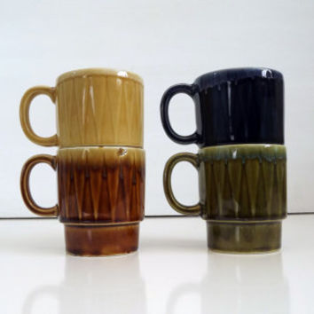 Set of 4 Stacking / Stackable Coffee / Tea Mugs / Cups Geometric Dripware 1970s - Made in Japan - Drip Ceramic - Retro Blue Green Tan Brown