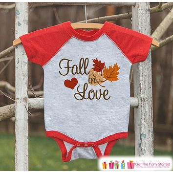 Fall in Love Outfit - Baby Fall Shirt - Boy or Girl First Fall Shirt - Red Raglan Tshirt or Onepiece - Kids Fall Autumn - Pregnancy Reveal