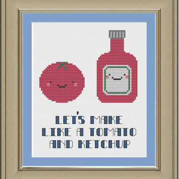 Let's make like a tomato and ketchup: funny cross-stitch pattern