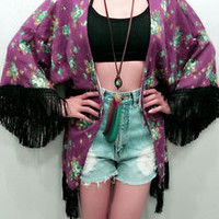 New Womens Floral Purple Bohemian Hippie Summer Beach Kimono Cardigan Boho