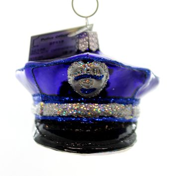 Old World Christmas Police Officers Cap Glass Ornament