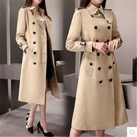 Spring Women Coat New Khaki Female Medium Long Fashion Windbreaker Coat Large Size Loose Pockets Trench Coat