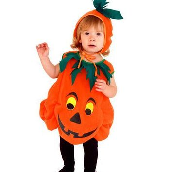 Children's Halloween Costumes Pumpkin Unisex Pumpkin skirt Costume Kids skirt Cosplay game uniforms C38105