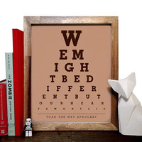Toad The Wet Sprocket, We Might Be Different But Our Hearts Wont Lie, Eye Chart, 8 x 10 Giclee Art Print, Buy 3 Get 1 Free