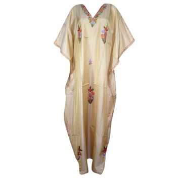 Mogul Women's Kashmiri Embroidered Evening Wear Long Maxi Kaftan - Walmart.com