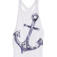 Sequin Anchor Tank - White