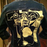 Hand Painted Picasso Denim Jacket