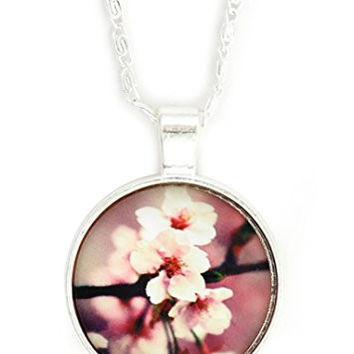 Cherry Blossom Flower Art Necklace Vintage Silver Tone NX63 Floral Cabochon Art Pendant Fashion Jewelry