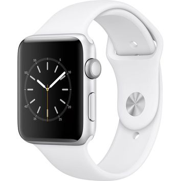 NEW APPLE WATCH SERIES 2 42MM SILVER ALUMINUM CASE WHITE SPORT BAND MNPJ2LL/A