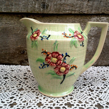 "PITCHER,  6"" Tall, Water Pitcher, Jug, Green Handpainted Floral, Marked Japan, Serving, Pitcher, Ceramic"