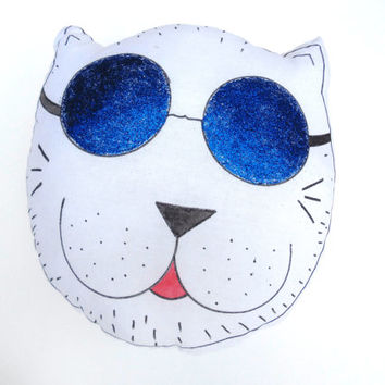 Plush Cat Pillow Toy Nursery Decor Decorative Cat Soft Sculpture Hand drawn Pillows Animal Totem Handpainted Fiber Art Glitter pillows