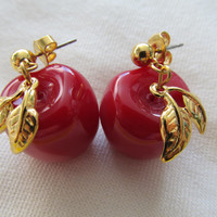 Dangling Red Apple Earrings