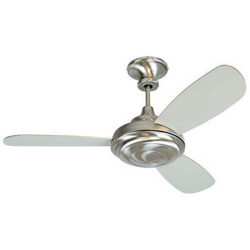 Craftmade K10769 Triumph 3 Stainless Steel Ceiling Fan with 52-Inch Triumph Brushed Nickel Blades and Optional Blank Light Lens Cover