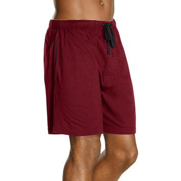 Hanes Mens Jersey Lounge Drawstring Shorts with Logo Waistband 2-Pack