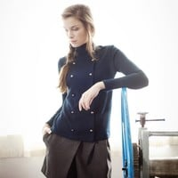 Deep Blue Thin Woolen Top with Buttons