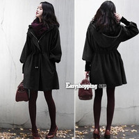 Fashion Vintage Women's Puff Sleeve Winter Overcoat Jacket Topcoat With Hat ES9P