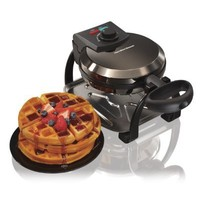 Hamilton Beach 26011 Ice Metal Collection Belgian Style Flip Waffle Maker, Black
