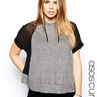 ASOS CURVE Exclusive Hooded Top With Chiffon Sleeves