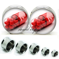 Double Flare steel  plugs,womens plugs,Body Piercing Gifts,0g plugs,00 plug,birthday presents for him,groom &bride gift