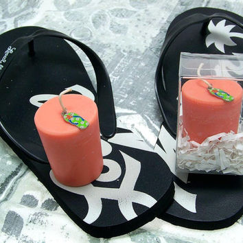 Island Candle Slippers Enamel Charm Flip Flops Summer Scented Fruity Soy Votive Candle Large Orange Beach Candle Hawaii