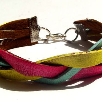 Neon Braided Mint Hot Pink and Yellow Bracelet by Beatniq on Etsy