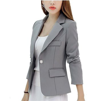 Women Blazers And Jackets Suit 2016 Spring Autumn Single Button Blazer Korean Gray/Wine red/Blue/Navy Blue Feminino Suits CO-106